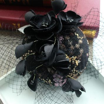 Euorpean Black Bride Veil Hat Wedding Fascinator Hairpin Ladies Cocktail Evening DInner Elegant Flower embroider Party Headwear