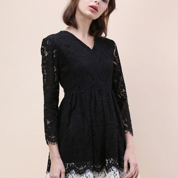 Elegant Accents Contrast Full Lace Dress