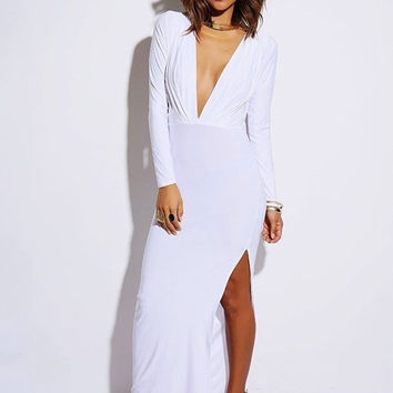 Long Sleeve Deep V-Neck Backless with Side Slit Bodycon Maxi Dress