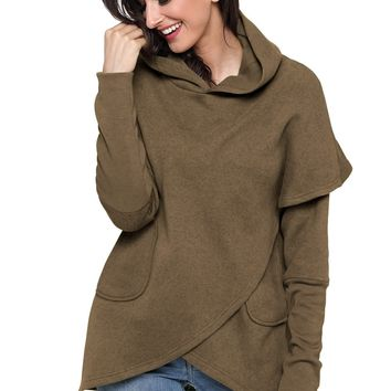 Taupe Tulip Wrap Cape Style Long Sleeve Hoodie