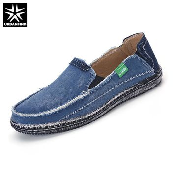 URBANFIND Men Jeans Canvas Shoes Plus Size 39-45 Breathable Men Summer Slip On Flats C