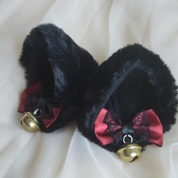 Kitten play clip on cat ears with ribbon bows and bell - neko lolita cosplay costume ears - kitten play gear accessories - black and red