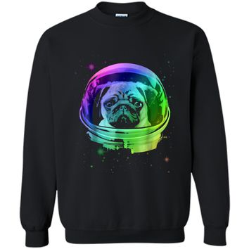 Pug Astronaut In Space T-shirt Printed Crewneck Pullover Sweatshirt