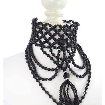 Restyle Victorian Gothic Black Beaded Chandelier Statement Necklace Penny Dreadful Inspired