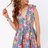 Brat Pack Blue Cutout Floral Print Dress