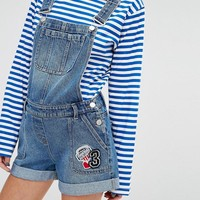 New Look | New Look Badge Denim Short Overall at ASOS