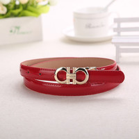 Womens Thin Double Circle Belt Buckle , Belt