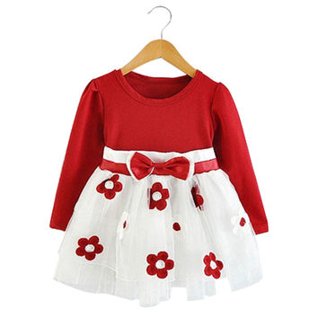 Cute Newborn Baby Dress Flower Pattern Summer Cotton Infant Toddler Dresses Long Sleeve Autumn Clothing For Newborn