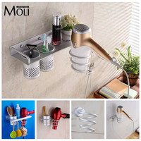 Multi-function Bathroom Hair Dryer Holder Wall Mounted  Rack Space Aluminum Shelf Storage Organizer Hairdryer Holder