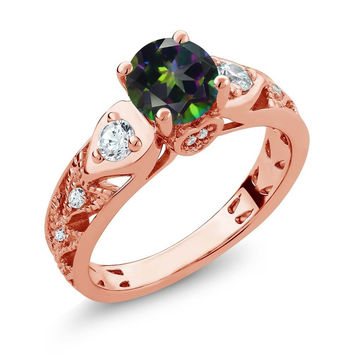 Round Green Mystic Topaz 18K Rose Gold Plated Silver Ring