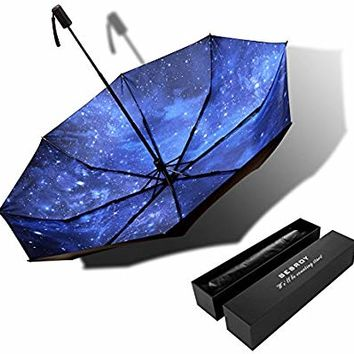 Bes High Grade Portable Sun Umbrella, Black Glue Anti UV Coating, Aluminum Alloy Umbrella Holder, Gift Boutique, Outdoor Sunshade, Sun Block, rain, Black Umbrella with Blue Sky Bottom.give Present