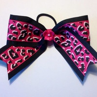 Pink Leopard Cheer Bow