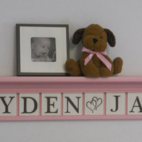 "Personalized Childern Nursery Decor 42"" Light Pink Shelf with 11 Brown Font Wooden Letter Blocks - HAYDEN (Hearts) JANE"