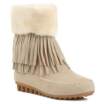Off White Snow Boots With Fringe and Flock Design