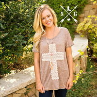 Crochet Lace Cross on Brown Tunic -CLOSEOUT