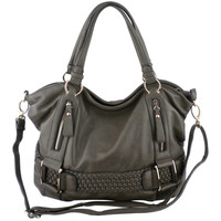 SAMANTHA Pewter Weave Pattern Soft Hobo Handbag