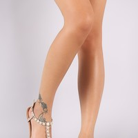 Glitter Rhinestone And Faux Pearl Accents T-Strap Thong Sandal
