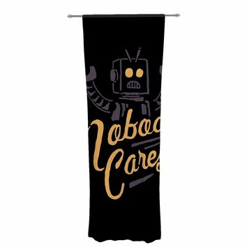 "Tatak Waskitho ""Nobody Cares"" Black Yellow Digital Decorative Sheer Curtain"