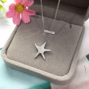 Personalized zircon starfish 925 sterling silver necklace,a perfect gift