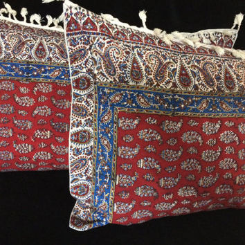 pair of traditional lumbar pillow, handmade red tapestry pillow cover, natural fabric paisley design