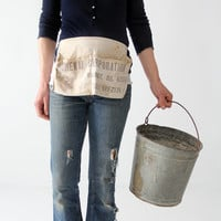 vintage work apron, carpenter's canvas half apron