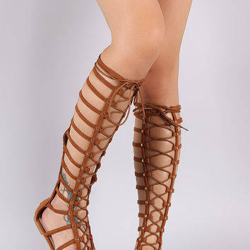 Liliana Suede Studded Caged Lace-Up Gladiator Flat Sandal