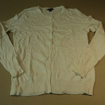 George Sweater Button Down Cardigan Female Adult Medium 8-10 Ivories -- New No Tags