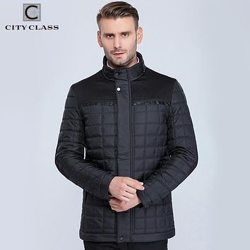 CITY CLASS New mens classic coats jackets casual slim fit sewing cotton-padding quilted stand collar warm autumn jacket 15800