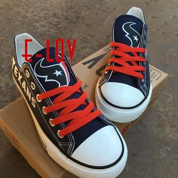 So Cool NFL Houston Texans Walking Shoe Women Men Print Canvas Shoes Black And Blue Gr