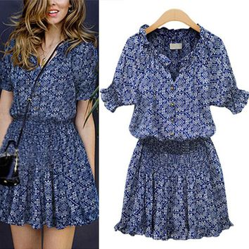2016 New Popular Fashion Summer Women Lady Causal Blue Floral Dresses Elegant Mandarin Collar V-Neck Elastic Flower Print Dress