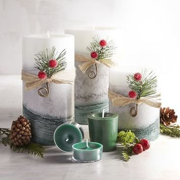Holiday Forest Layered Pillar Candles