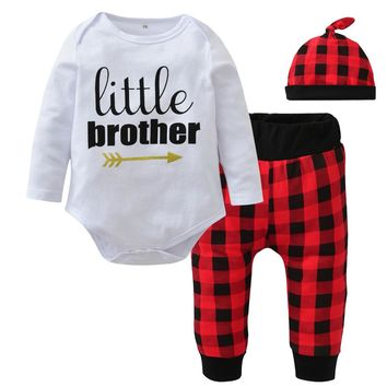 Newborn Baby Boy Clothes Infant Baby Boys Clothing Set Cute Little Brother Romper + Red Plaid Pants + Hat Kids Toddler Outfits