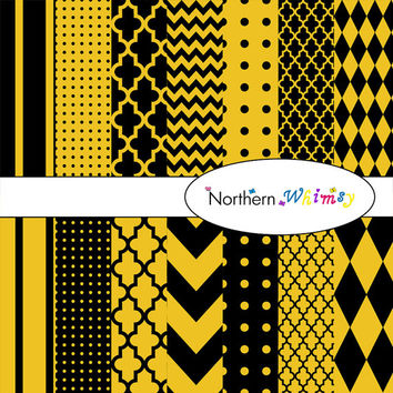 Gold & Black Digital Paper Pack – scrapbooking paper in stripes, chevron, polka dot, harlequin, and quatrefoil – instant download – CU OK