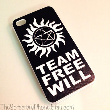 HANDMADE Supernatural T.V. show iPhone Case Team Free Will iPhone 4 4s 5 5s 5c  6 6 Plus  Samsung Android Phone Case cover  Dean Sam