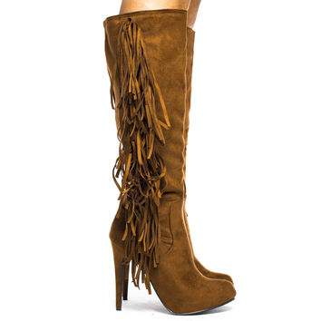 Philly11 Tan By Breckelle, Knee High Western Fringe Almond Toe Stiletto High Heel Boots