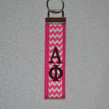 Alpha Phi Sorority (OFFICIAL LICENSED PRODUCT)  Monogrammed Key Fob Keychain Cotton Webbing Ribbon Wristlet