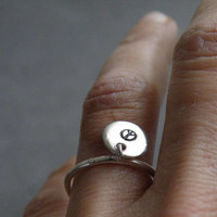 Silver Charm Ring Round Charm Initial Ring Sterling Silver Jewelry Gift Idea by SteamyLab