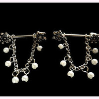 Dangling Pearl Nipple Ring on Chain