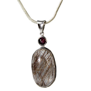 Sterling Silver Rutilated Quartz and Garnet Necklace With Snake Chain