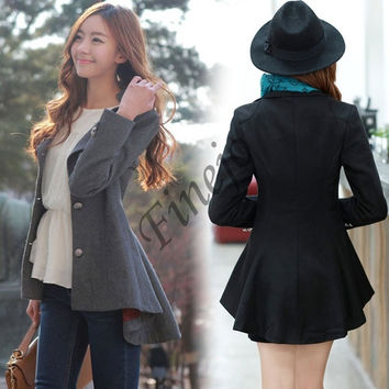 Korean Womens Lapel Irregular Hem Long Sleeve Slim Wool Coat Jacket Outwear  SV007030