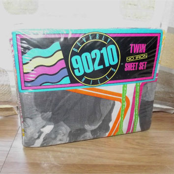 Vintage 90s Beverly Hills 90210 Complete Sheet Set Fitted Flat Pillow Case Twin Bed MINT IN PACKAGE