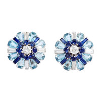 1930s Aquamarine Sapphire Diamond Earrings