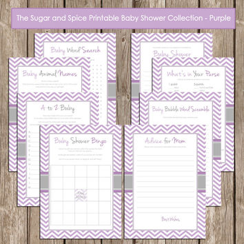 Baby Shower Game Pack - Lavender Purple and Gray - Lavender Design2  Shower Games and Activity Set with bingo game and more INSTANT DOWNLOAD