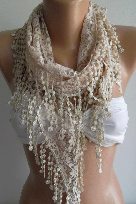 ON SALE / Beige / Elegance  Shawl - Scarf with Lacy Edge.