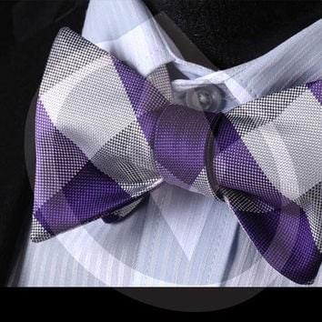 Silk Men's Butterfly Bowtie Pocket Square Handkerchief Suit Set #B101