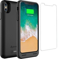 VONEXO9 iPhone X Battery Case Qi Wireless Charging Compatible, Alpatronix BXX 5.8-inch 4200mAh Slim Rechargeable Extended Protective Portable Charger Case for iPhone X [Apple Certified Chip iOS 11+Black