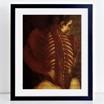 Vintage Printable,  Medical School Gift, Nursing Gift, Female Skeleton Illustration, Vintage Anatomy Print, Vintage Female Back Illustration