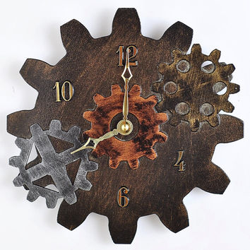 Steampunk Wall Clock with Gears