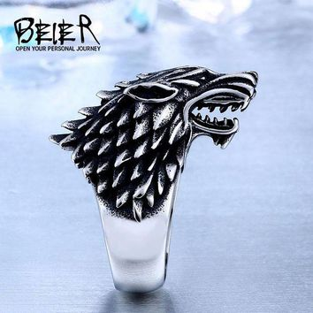 DCCKL6D Beier Store Stainless Steel Game Thrones Ice Wolf House Stark Of Winterfell Biker Animal Ring Fashion Jewelry BR8-351