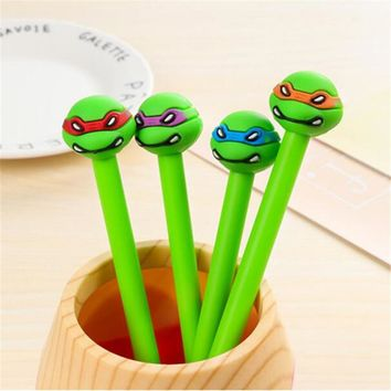 4pcs/lot Cartoon Ninja Turtles Gel Pen Korean Stationery Writing Supplies For Children Students Kawaii Canetas Lapices Ge Pen